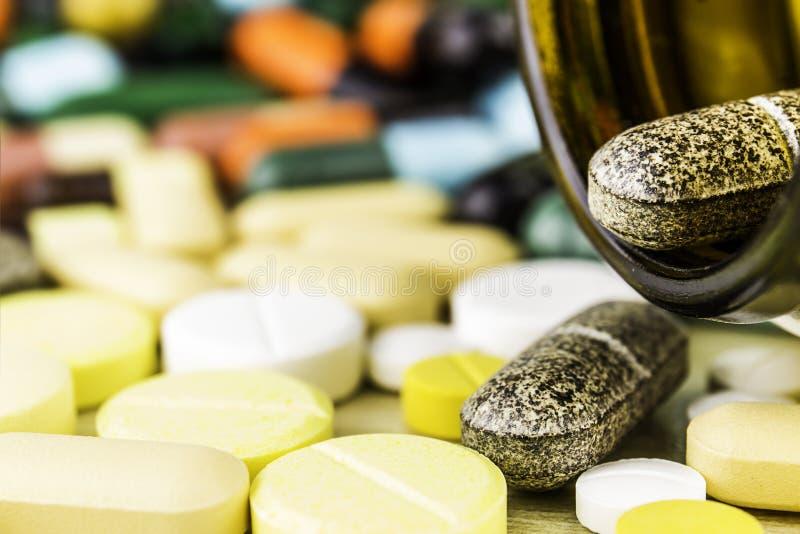 Fondo Prescrizione del farmaco per il farmaco di trattamento Medicinale farmaceutico, cura per salute Tema della farmacia, pillol immagini stock libere da diritti