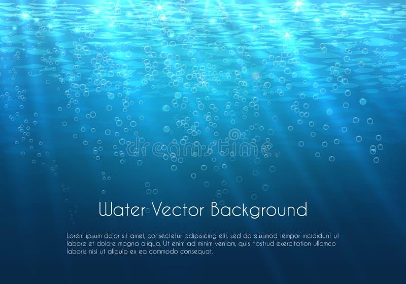 Fondo profundo del vector del agua azul con las burbujas libre illustration