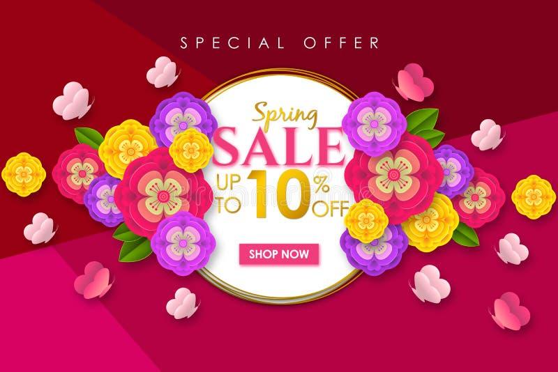 Fondo promocional de la bandera de la venta de la primavera con la flor y la mariposa coloridas para la oferta especial el 10% de stock de ilustración