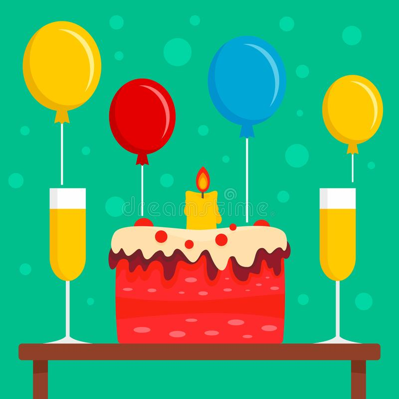 Fondo pronto di concetto del partito di compleanno, stile piano illustrazione di stock