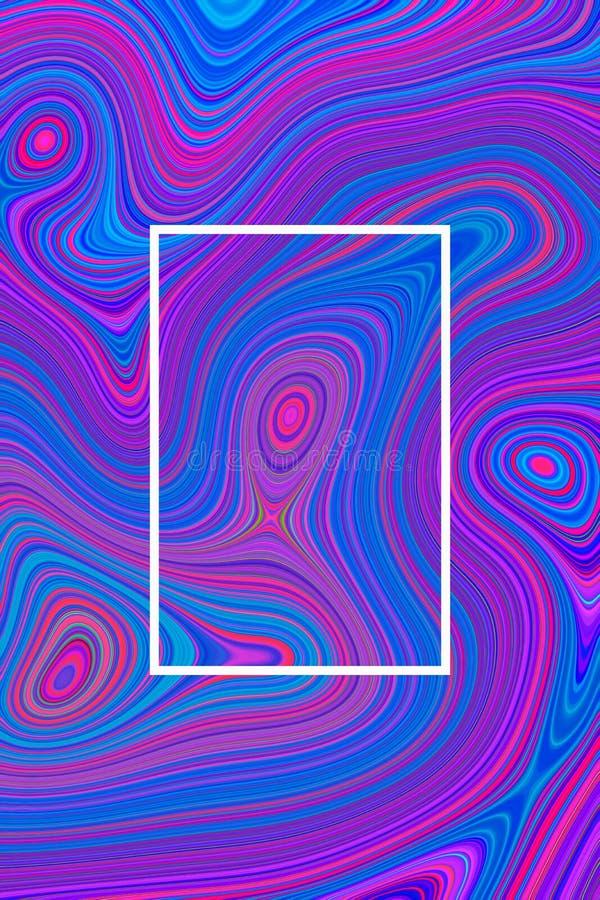 Fondo psicodélico azul del cartel del extracto y diseño hipnótico, de mármol stock de ilustración