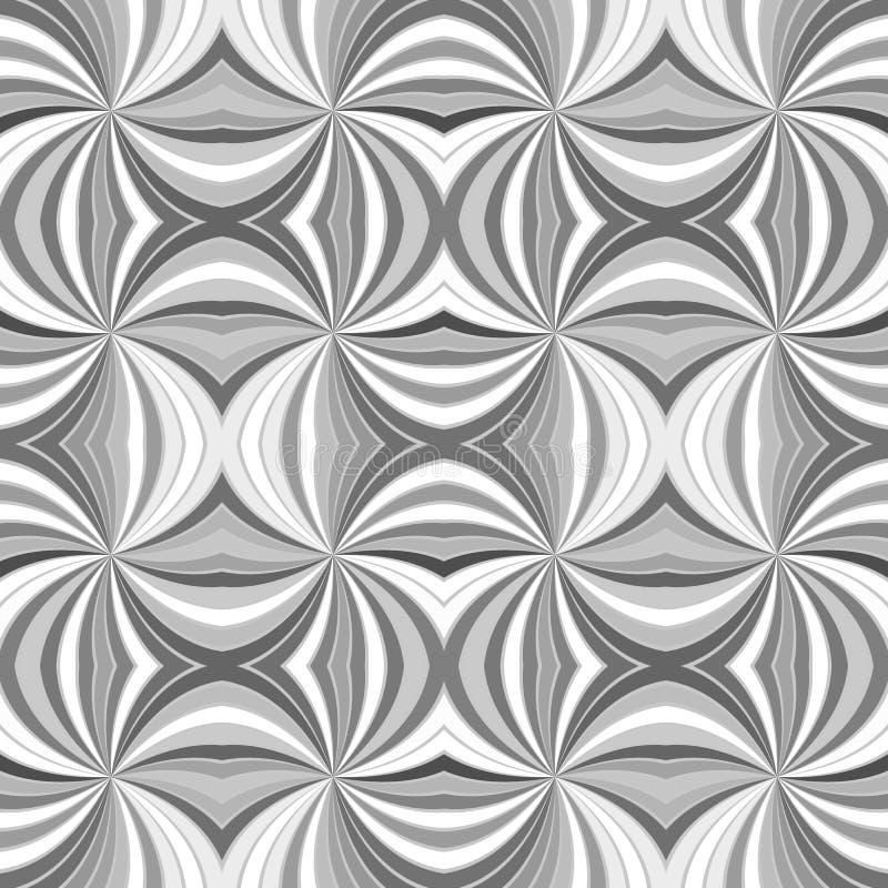 Fondo psicodélico del modelo de la raya de la explosión del rayo del extracto inconsútil del gris que remolina ilustración del vector