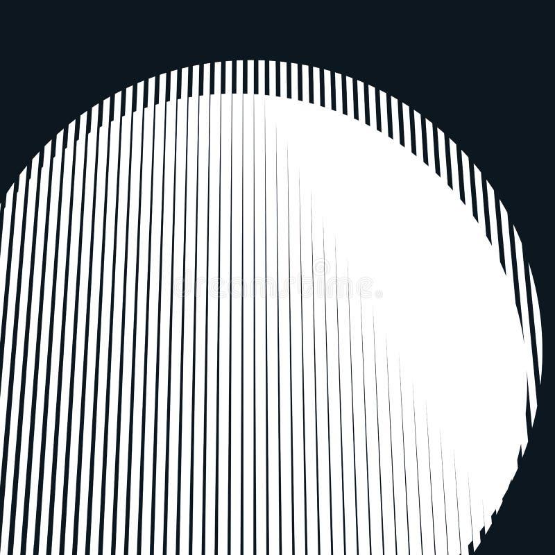 Fondo psicodélico rayado con las líneas blancos y negros del moaré ilustración del vector