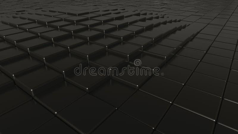 Fondo pulido negro abstracto de las barras, representación 3D imagen de archivo libre de regalías