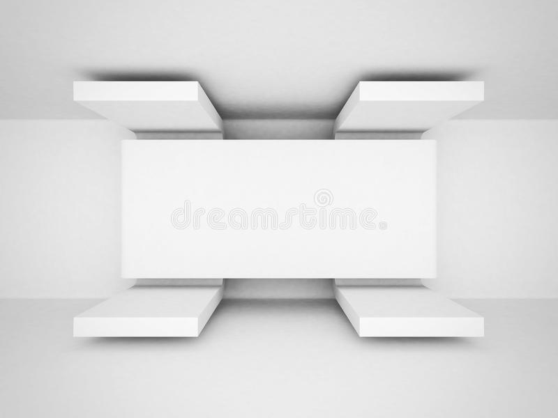 Fondo pulito bianco di architettura futuristica astratta illustrazione di stock