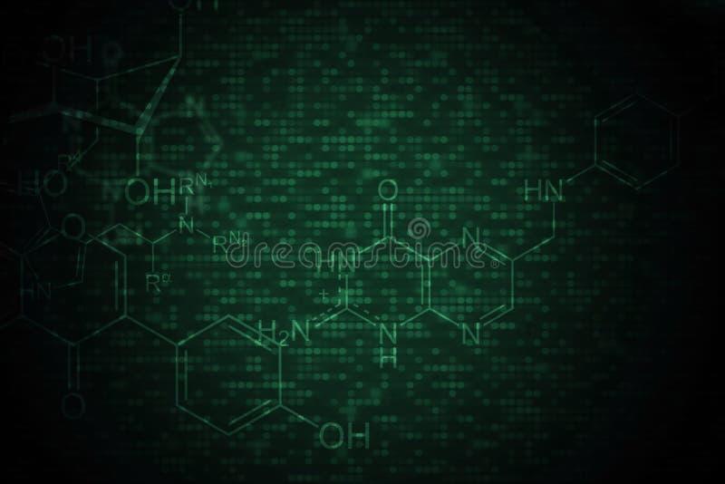 Fondo químico oscuro ilustración del vector