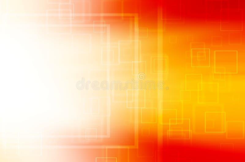 Fondo quadrato arancio astratto di tecnologia illustrazione vettoriale