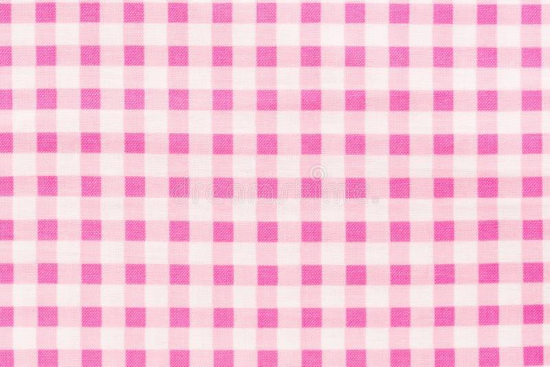 Fondo a quadretti bianco e di rosa del tessuto Struttura di alta qualit? in estremamente di alta risoluzione fotografia stock