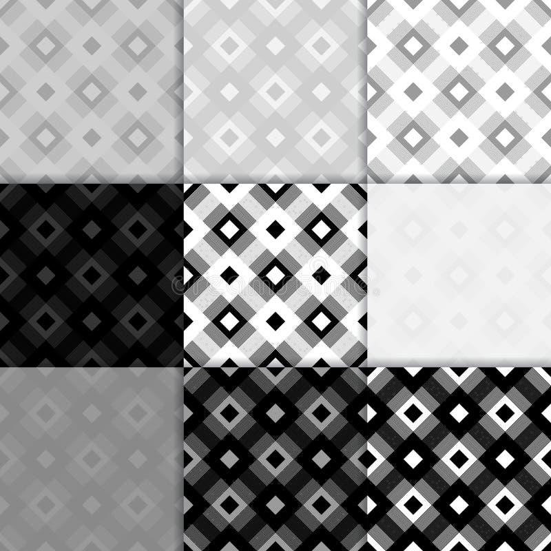Fondo a quadretti del tessuto Reticolo senza giunte in bianco e nero illustrazione vettoriale