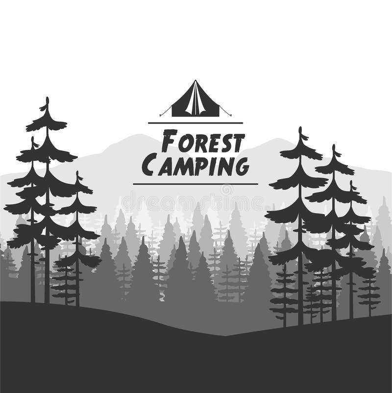 Fondo que acampa del bosque stock de ilustración