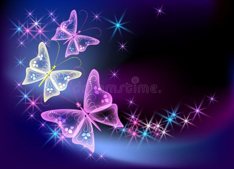 Fondo que brilla intensamente con la mariposa transparente libre illustration