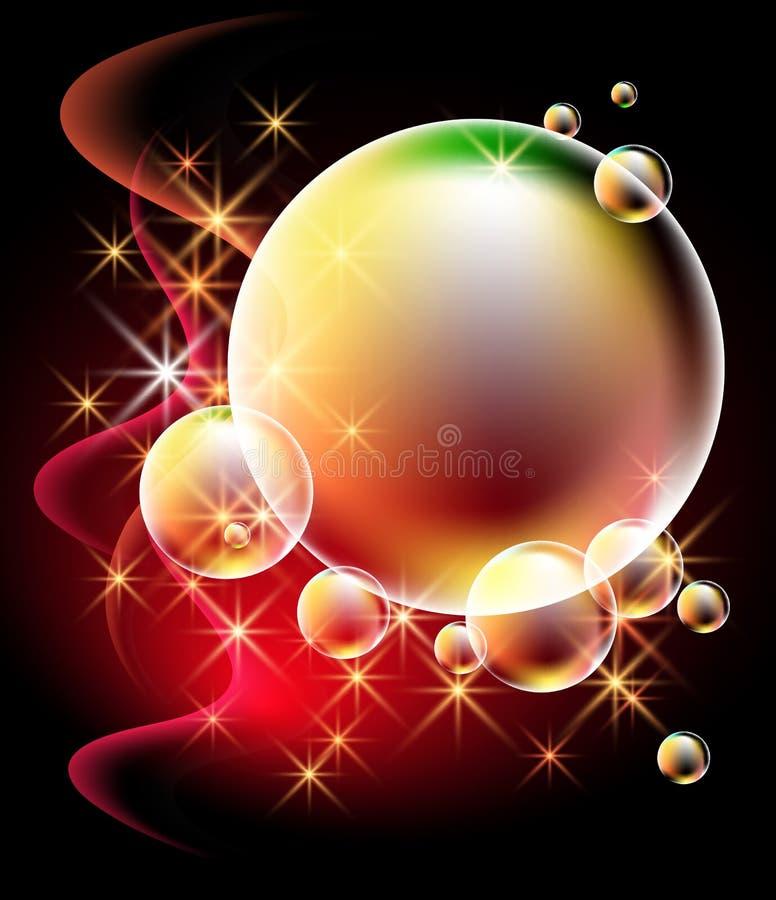 Fondo que brilla intensamente con las burbujas stock de ilustración