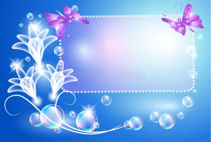 Fondo que brilla intensamente con las flores transparentes stock de ilustración