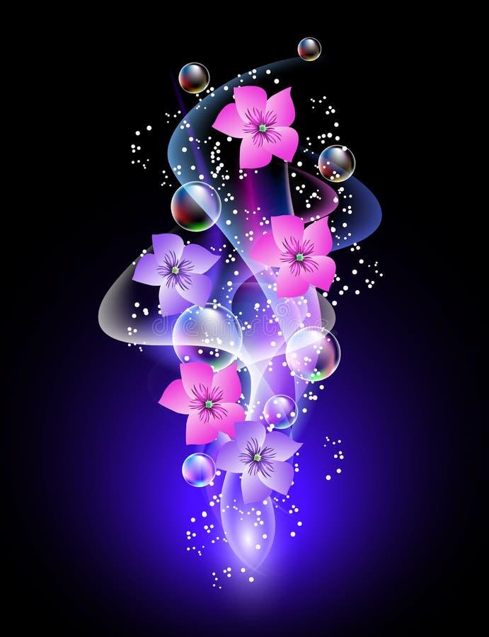 Fondo que brilla intensamente con las flores y las estrellas stock de ilustración