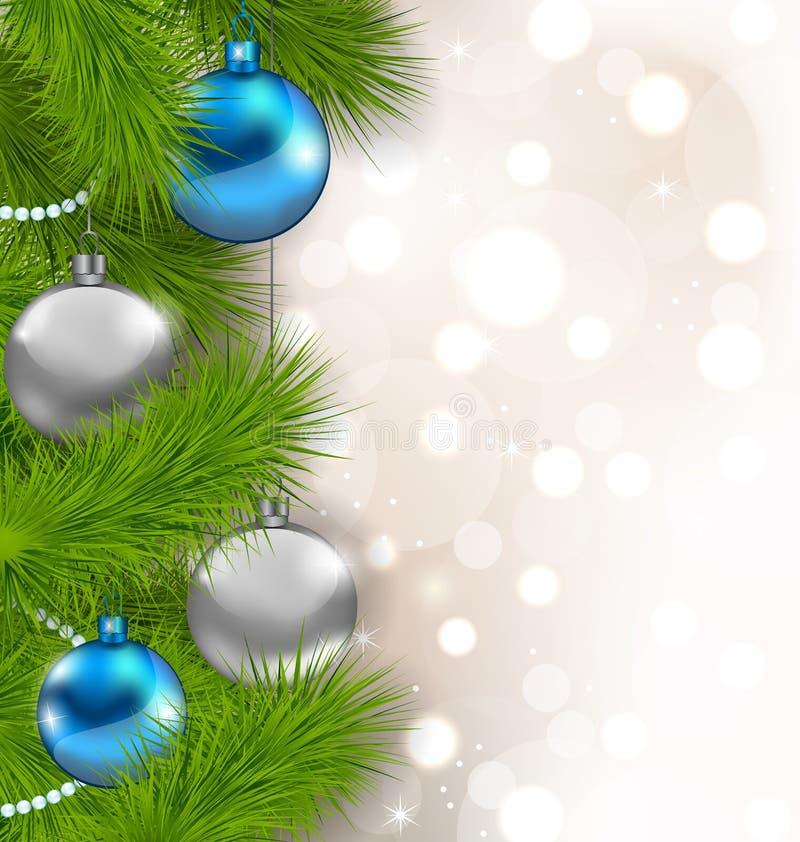 Fondo que brilla intensamente de la Navidad con las ramas del abeto y las bolas de cristal libre illustration