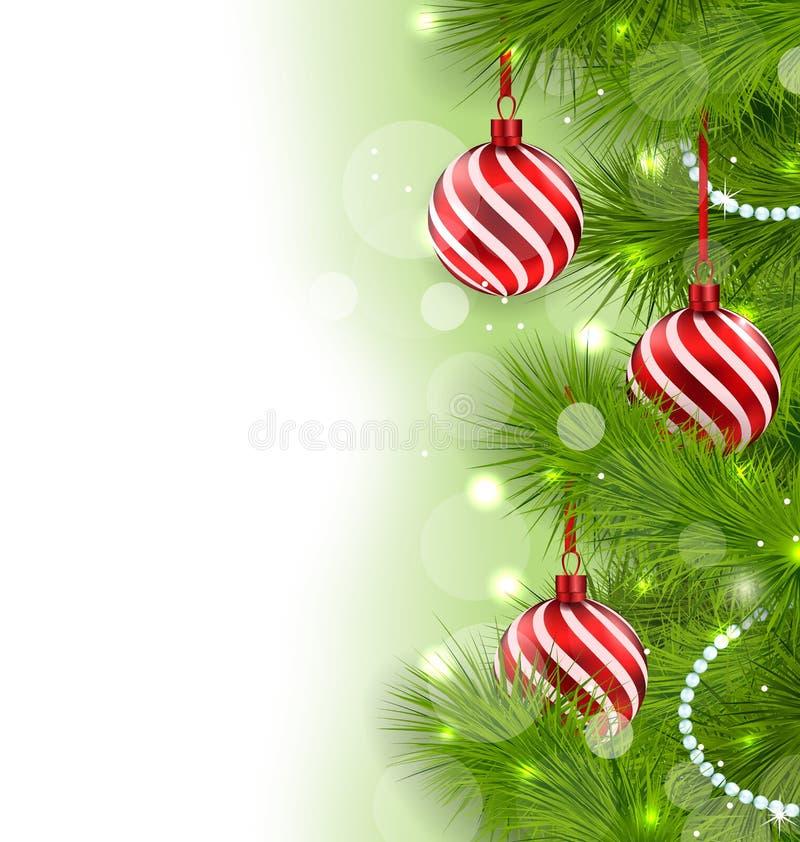 Fondo que brilla intensamente de la Navidad con las ramas del abeto y las bolas de cristal ilustración del vector