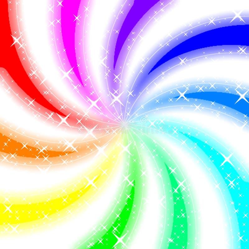 Fondo que brilla intensamente del remolino del arco iris ilustración del vector