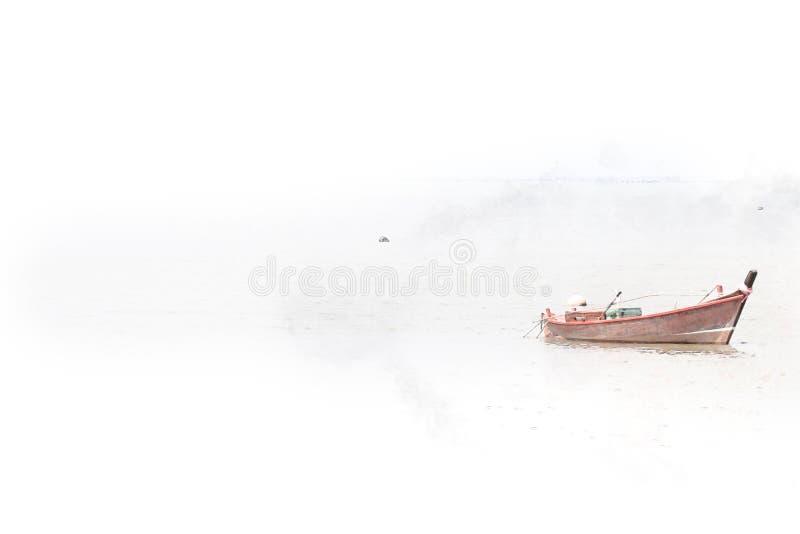 Fondo que duele del barco de la acuarela larga abstracta de la pesca y cepillo colorido del chapoteo al arte imágenes de archivo libres de regalías