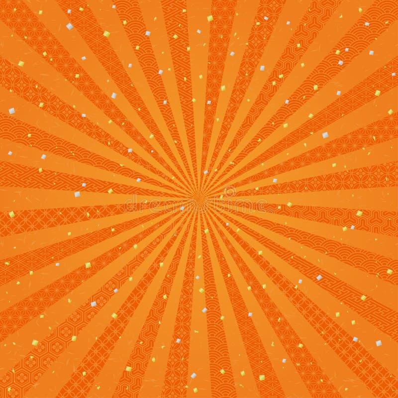 Fondo radial anaranjado con diseño del japonés stock de ilustración