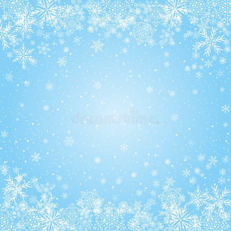 Fondo radial azul de los copos de nieve stock de ilustración
