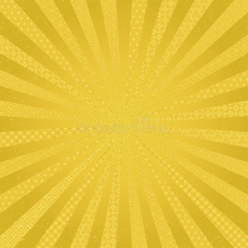 Fondo radial de oro con diseño del japonés libre illustration