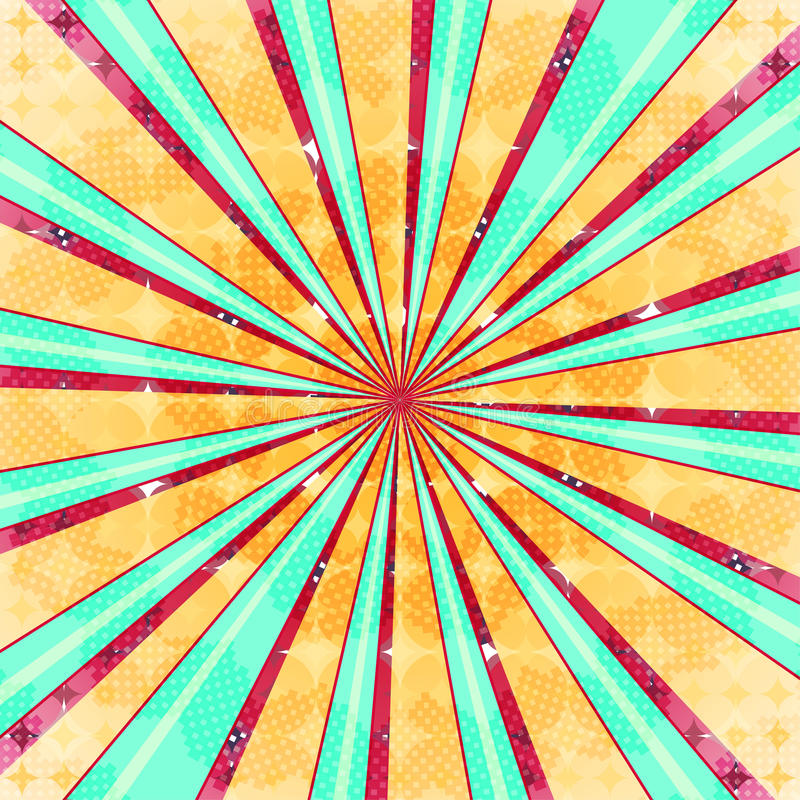 Fondo radiale astratto di esplosione solare Luce variopinta di retro stile dissipata dietro Illustrazione di vettore ENV 10 illustrazione vettoriale