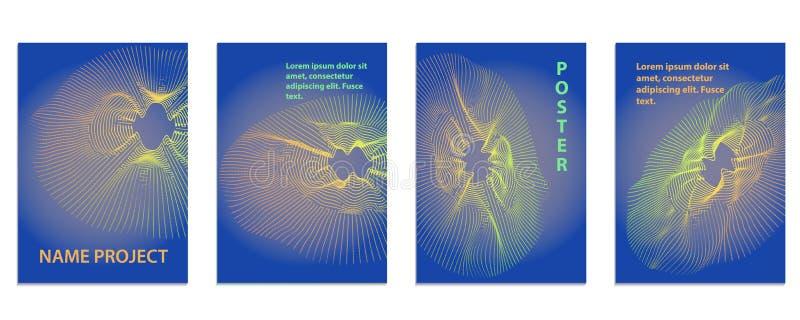 Fondo radiale dell'onda di musica Manifesto sano con la linea astratta w illustrazione di stock