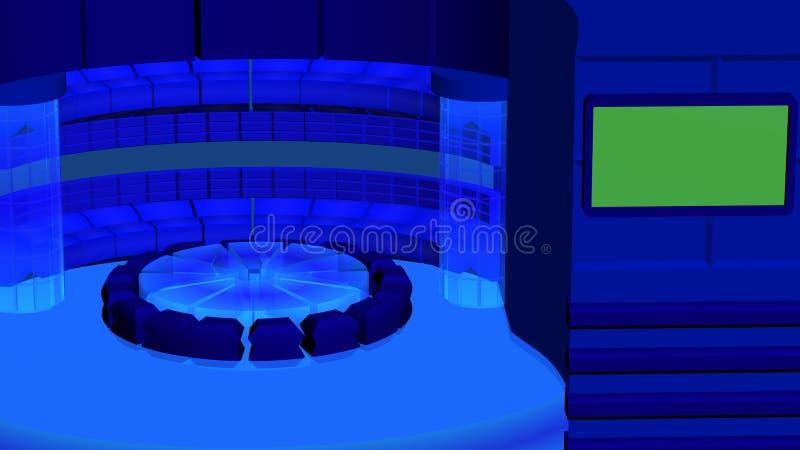 Fondo radiale di notizie virtuali della TV con i cilindri a cristallo blu scuro fotografia stock libera da diritti