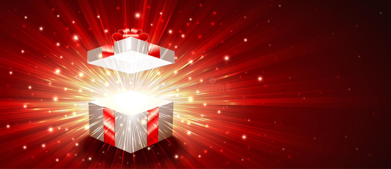 Fondo radiante leggero magico di esplosione aperta del fuoco d'artificio del contenitore di regalo illustrazione di stock