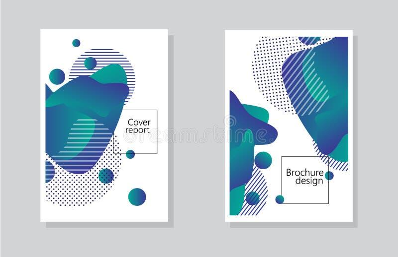 Fondo rapporto della copertura e progettazione dell'opuscolo con l'elemento geometrico degli estratti illustrazione vettoriale