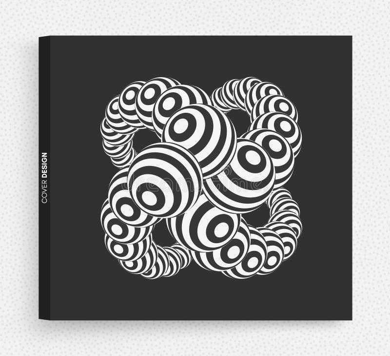 Fondo rayado abstracto de las esferas Ejemplo del vector en estilo futurista stock de ilustración