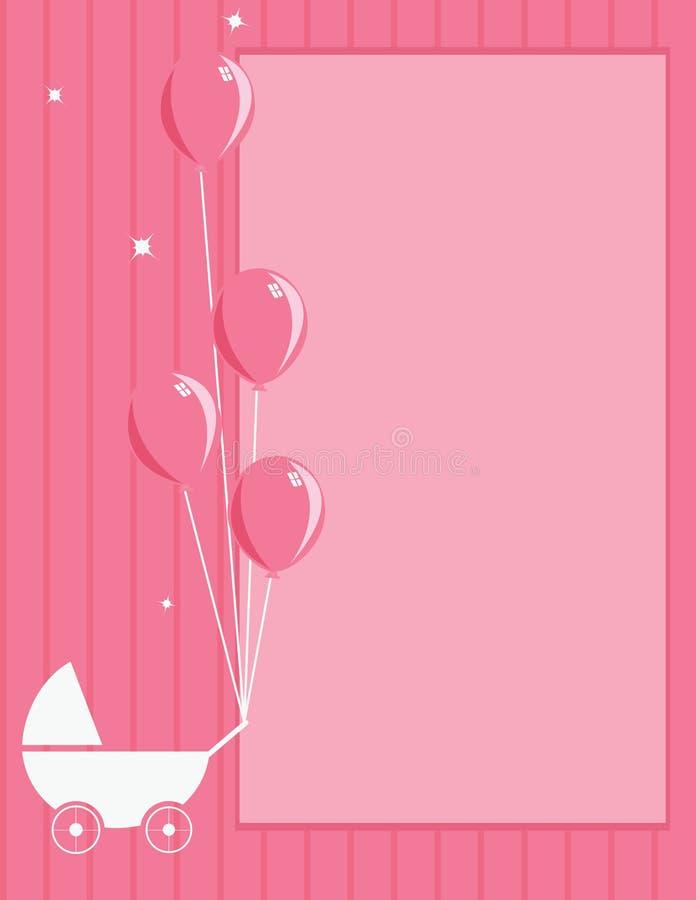 Fondo rayado del color de rosa del cochecito y del globo de bebé