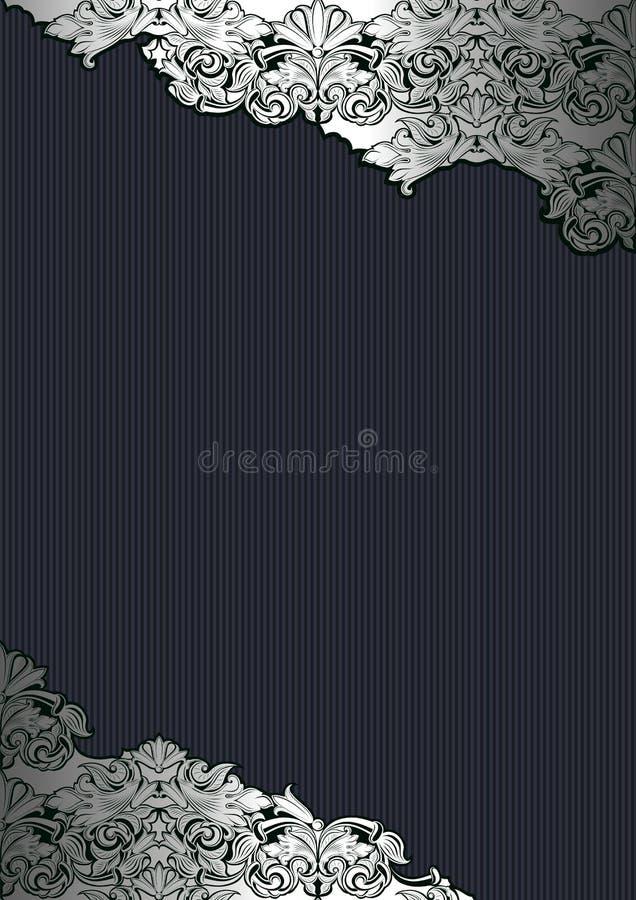 Fondo reale, d'annata, gotico in argento ed il nero illustrazione vettoriale