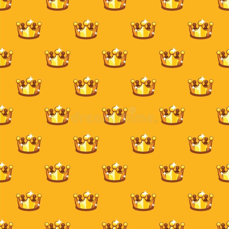 Fondo reale dorato del modello della corona Fondo senza cuciture del modello della corona della regina e di re royalty illustrazione gratis