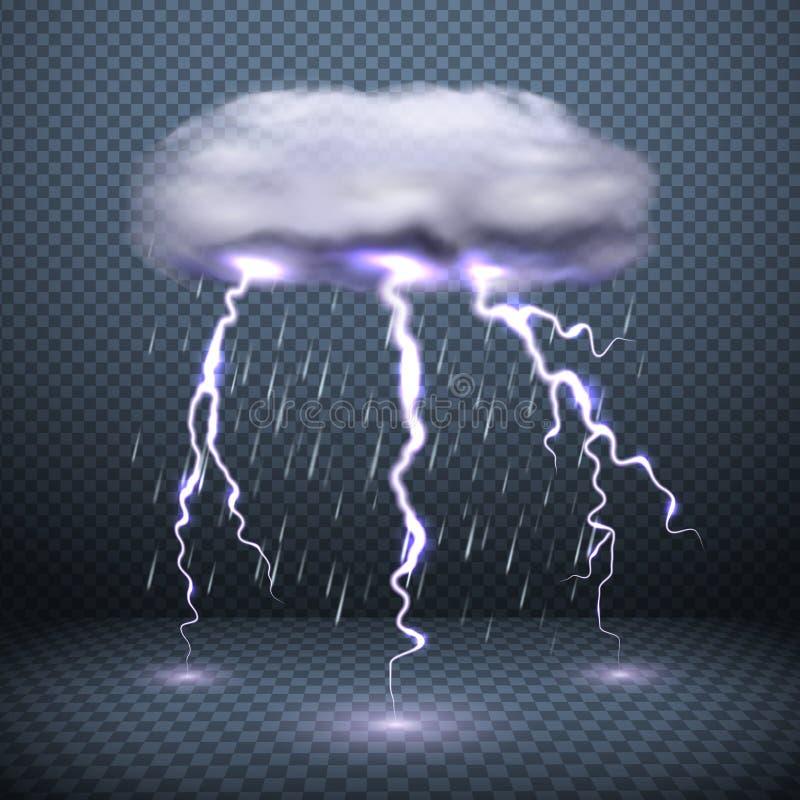 Fondo realista de la lluvia el caer ilustración del vector