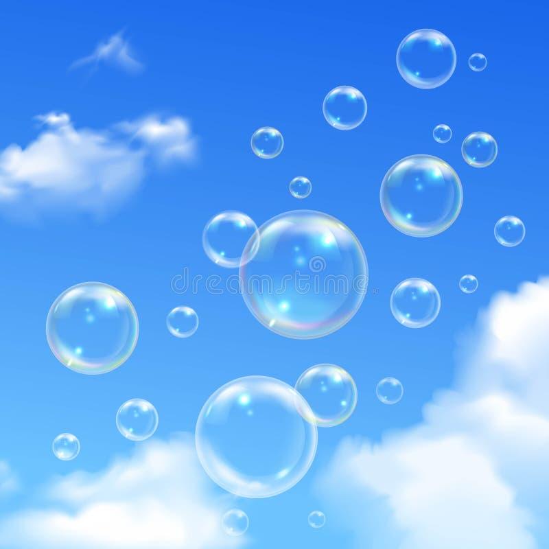 Fondo realista del cielo azul de las burbujas de jabón ilustración del vector