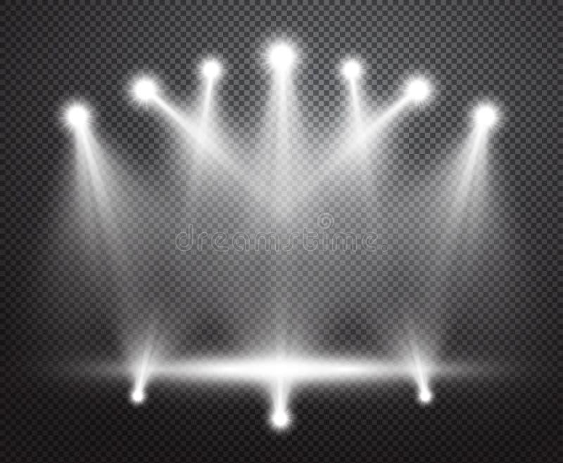 Fondo realista del vector de la iluminación de la etapa stock de ilustración