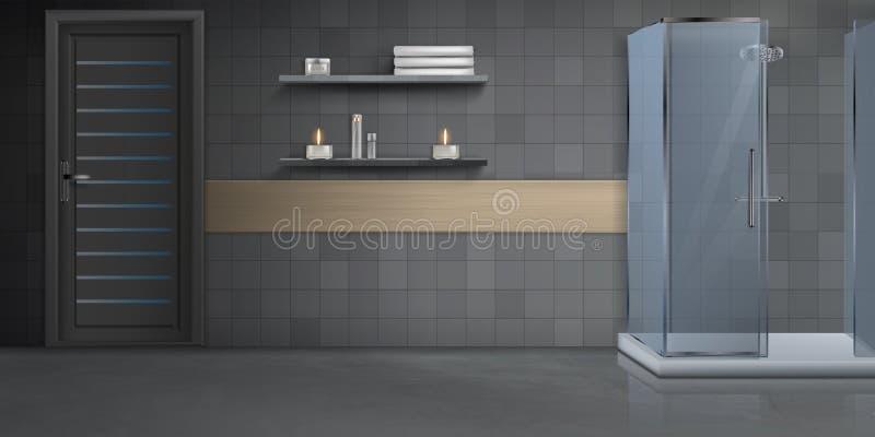 Fondo realista interior del vector del cuarto de baño stock de ilustración