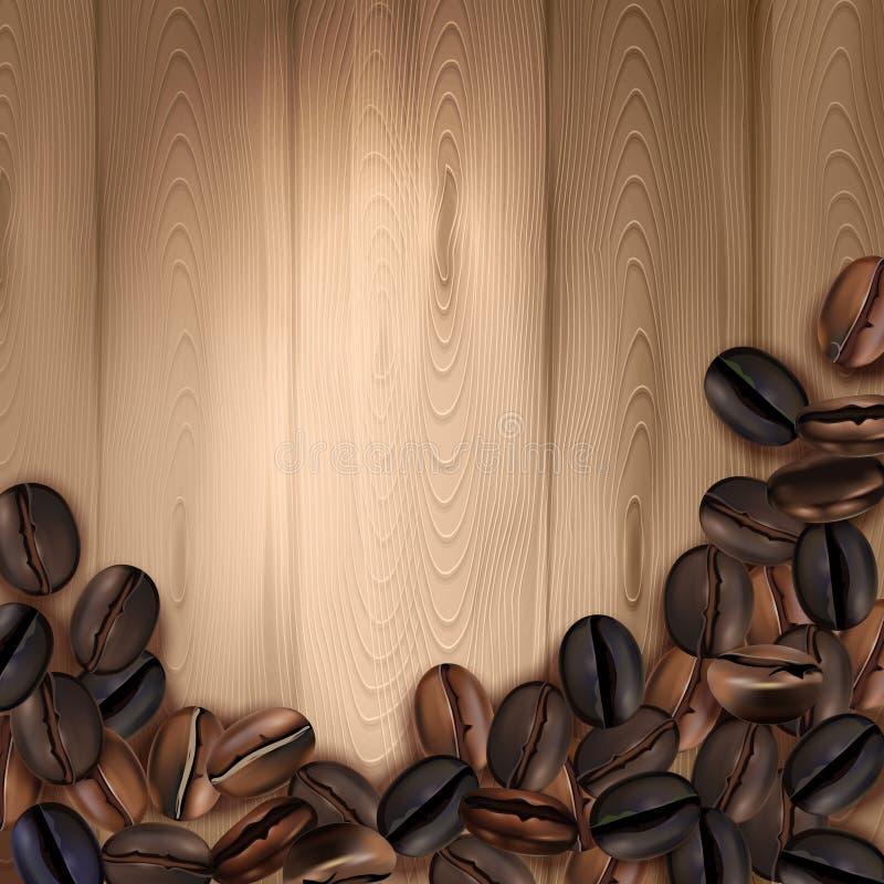 Fondo realistico dei chicchi di caffè illustrazione vettoriale