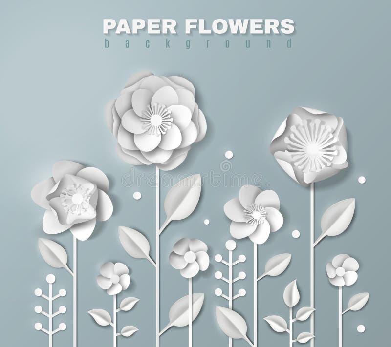 Fondo realistico dei fiori di carta illustrazione vettoriale