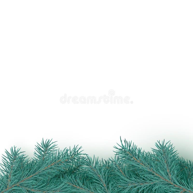 Fondo realistico del confine dell'albero di abete Struttura del brancher dell'albero di Natale Decorazioni stagionali di inverno  illustrazione vettoriale
