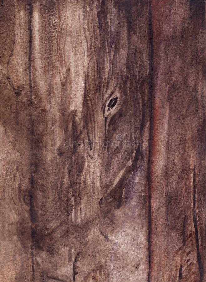 Fondo realistico di struttura della superficie di legno marrone del bordo dell'acquerello royalty illustrazione gratis
