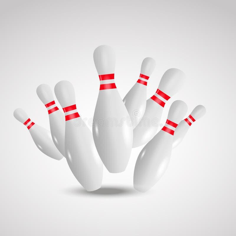 Fondo realistico lanciante dell'illustrazione Concetto di svago del gioco di bowling illustrazione vettoriale