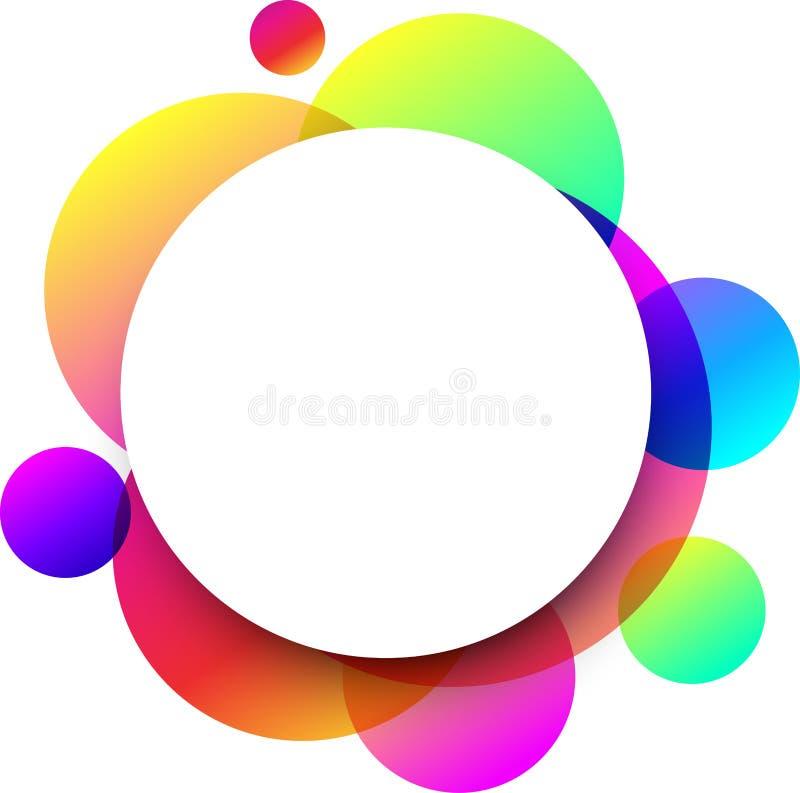 Fondo redondo blanco con los círculos de color ilustración del vector