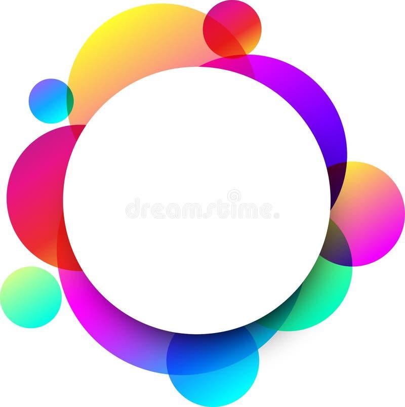 Fondo redondo blanco con los círculos de color stock de ilustración