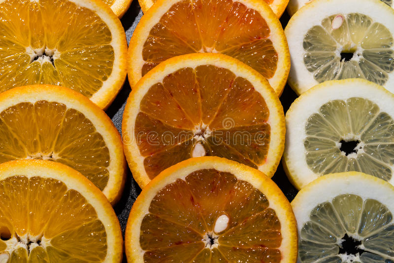Fondo redondo colorido de la fruta de Citrius imagenes de archivo