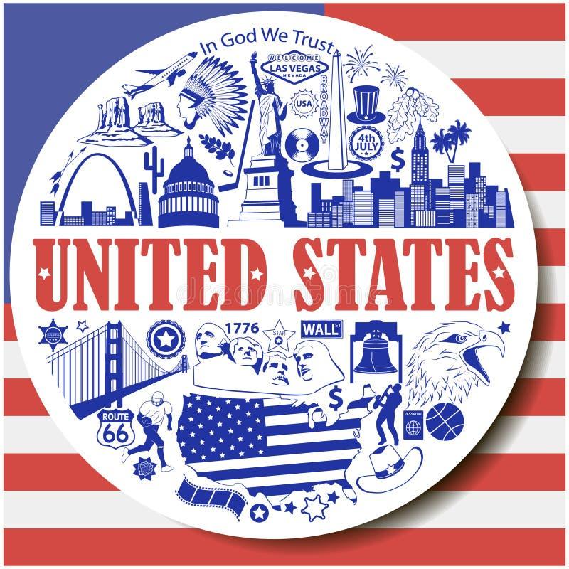 Fondo redondo de Estados Unidos Fije los iconos del vector y los símbolos de las señales de los E.E.U.U. libre illustration