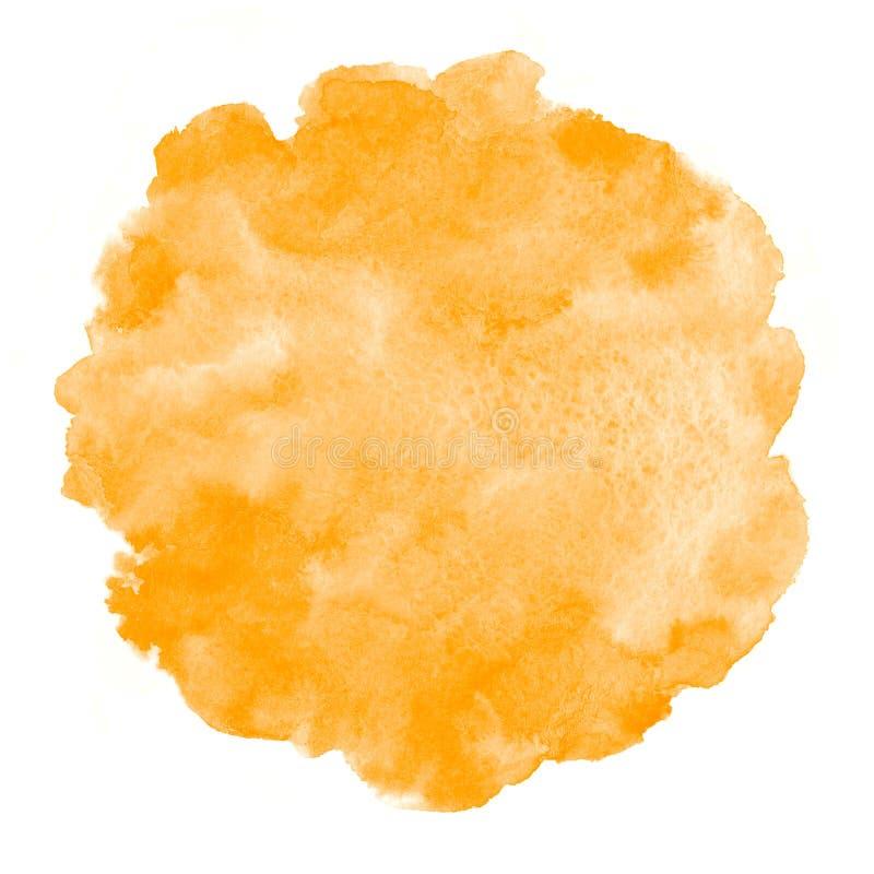 Fondo redondo de la acuarela anaranjada brillante, marco stock de ilustración