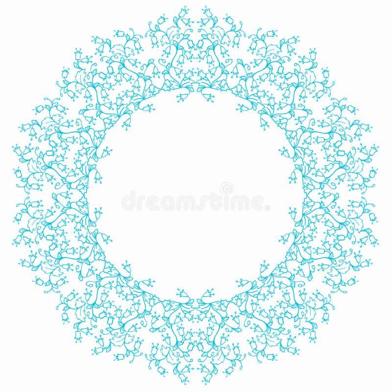 Fondo redondo del blanco del marco de la flor azul de la campánula stock de ilustración