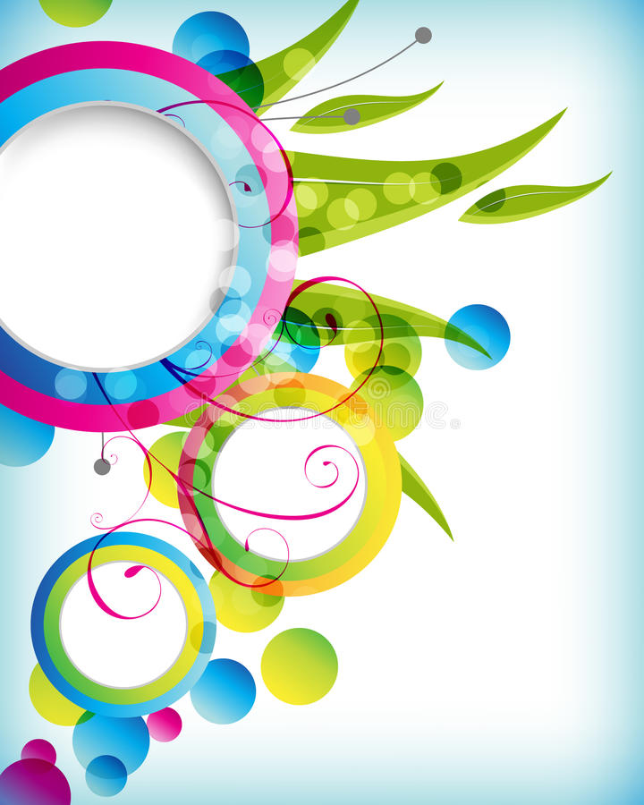 Fondo redondo del marco del follaje multicolor ilustración del vector